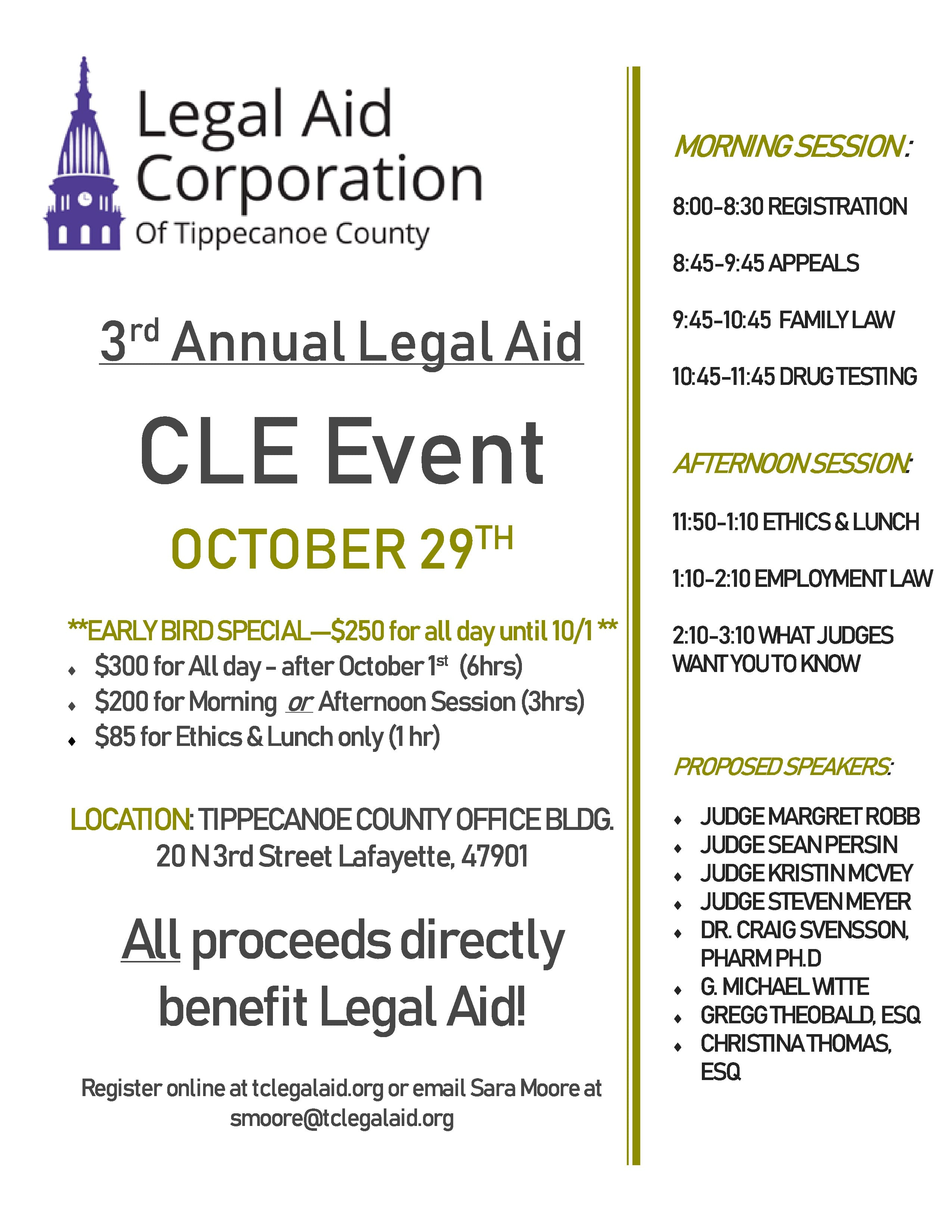 CLE Event Flyer Legal Aid October 29th